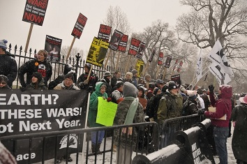 Hundreds of Veterans and allies gather at the White House December, 2010 to demand Peace
